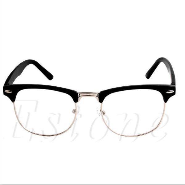 1PC Fashion Metal Half Frame Glasses Frame Retro Woman Men Reading Glass UV Protection Clear Lens Computer Drop ship