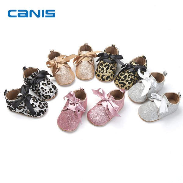 2018  New Infant Toddler Newborn Baby Boy Girl Glitter Trainer Soft Sole Pram Shoes First walk Strap Shoes Wholesale 0-18M