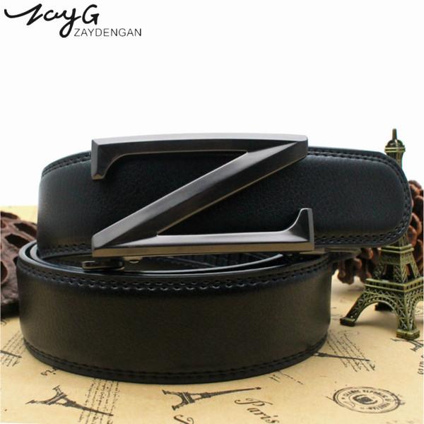ZAYG Men Belt High Quality New Design Men's Luxury Letter Z-type Automatic Buckle Belt Fashion Retro Buckle Jeans