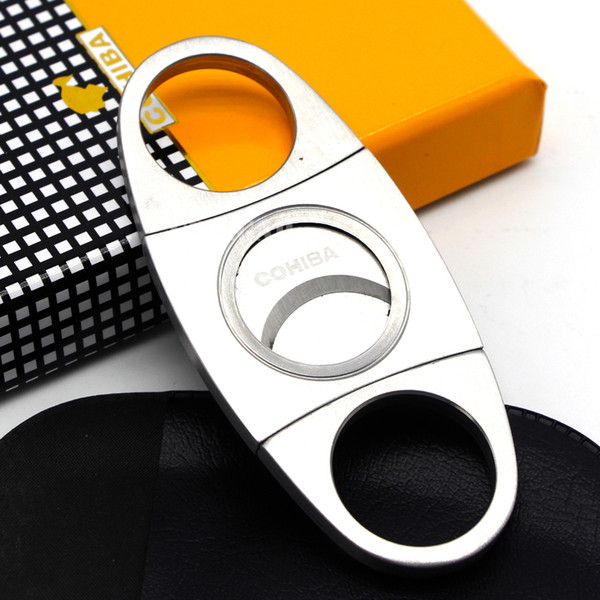 best selling New Arrival Genuine Article COHIBA Brand New Stainless Steel Metal Classic Cigar Cutter Guillotine with Gift Box