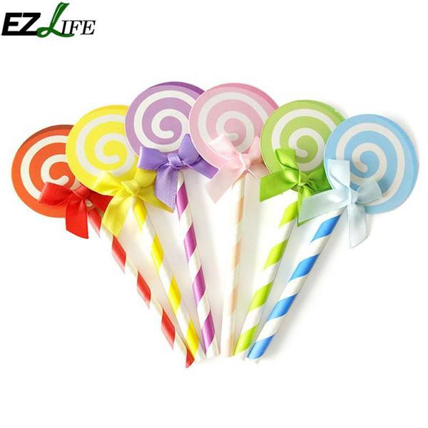 6 pcs Lollipop Modèle Gâteau Cupcake Topper Décor Pour La Fête De Mariage Anniversaire Festival Célébration Décor Gâteau Carte Drapeau Fournir