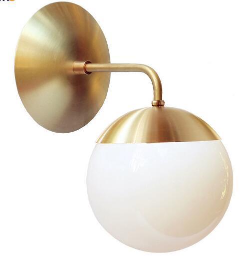 Acheter Nordic Copper Moderne Led Applique A La Maison Eclairage Interieur Salle De Bains Miroir Lumiere Boule De Verre Appliques Murales Arandela De