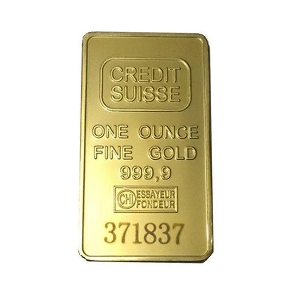 Envío gratis 1 unids, CREDIT SUISSE 1 oz 24ct chapado en oro en capas lingotes Bar Lingote réplica de monedas + Suiza Fake Gold Bar