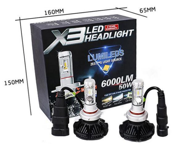 X3 Auto LED Kopf Beleuchtung Lampe LED Scheinwerfer weit und in der Nähe von Glühlampe Dichroic Trichromatic Temperatur Scheinwerfer Nebelscheinwerfer