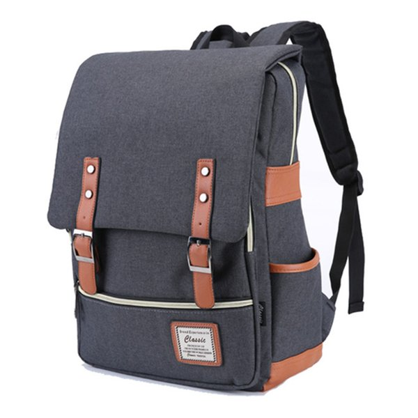 43*30*12CM Canvas&Polyester Unisex College Bag Fits 17'' Laptop Casual Rucksack Waterproof School Backpack Daypacks with USB Charging Port