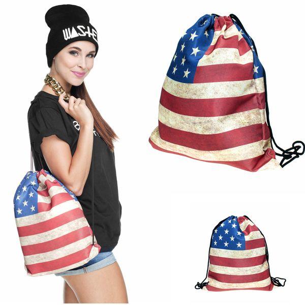 American US flag Drawstring Bag Polyester 3D Print Stripe Stars Unisex Teenagers Backpacks Travel School Girl Emoji Backpack AAA493