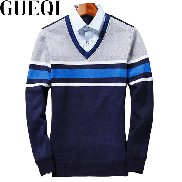 GUEQI New Patchwork Men Fashion Sweaters Plus Size L-4XL Color Striped Design Man V-Neck Casual Knitted Wear