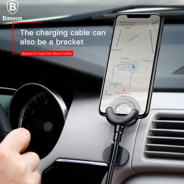 Baseus Autotelefonhalter für iPhone X 8 7 6 5S 360 Grad GPS Handy Standfuß Auto Mount USB Kabel für iPhone Lade Halterung
