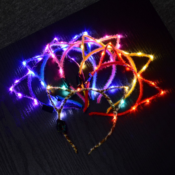 Cat Ear Design LED Light Headband For Birthday Wedding Party Masquerade Decorations Cute Hair Hoop Accessories Halloween Xmas Gifts