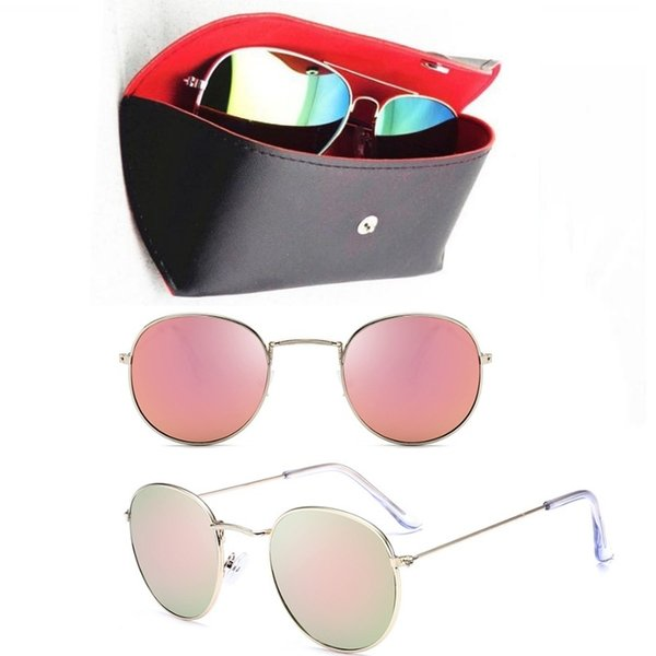 e4db4b06cac 1pc Fashion Round Sunglasses Eyewear Sun Glasses Designer Brand Gold Metal  Pink Mirror 47mm Glass Lenses Men s Women s With Black Cases