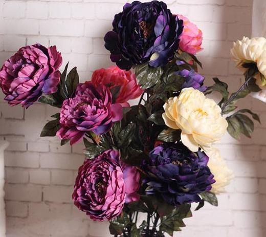 Peonia artificiale Fiore Tre teste bouquet fiori artificiali Fornitura Matrimonio nuziale Splendidi grappoli Decorazione soggiorno
