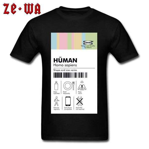Family Tshirts Guys Funny T-shirt Human Tag T shirt Pure Cotton Men T Shirt Casual Brand New Crewneck Sweatshirts Drop Shipping