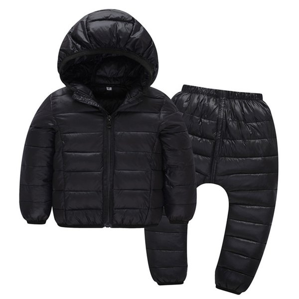 Children Winter Clothes Sets 2 Pieces Cotton-Padded Hooded Jacket+Pants Baby Boys Girls Warm Parkas Coat Kids Outerwear
