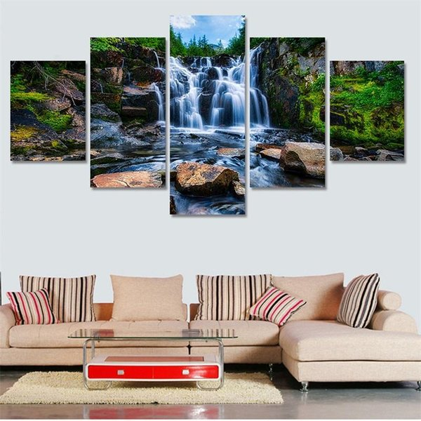 Eco Friendly Waterfall Pittura Frameless Home Decor Immagini su tela Rimovibile Wall Hanging Print con Landscape Scenery 28jj ff