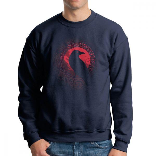edda bird viking valhalla men's pullover pure cotton stylish sweatshirts crew neck apparel graphic hoodies