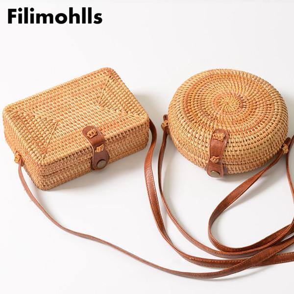 Las mujeres del verano hechos a mano bolsos de bambú redondos bolsos de la rota caja círculo Bali Bohemia playa bolsos Totes bolsos de tejer paja F-248