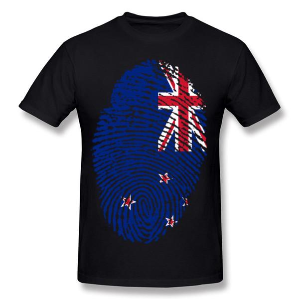 Yeni Tasarım Erkek Yüzde Pamuk Yeni Zelanda Bayrağı Parmak Izi Tee-Gömlek Erkek Ekip Boyun Turuncu Kısa Kollu Tshirt Büyük Boy Özelleştirilmiş Tee-S