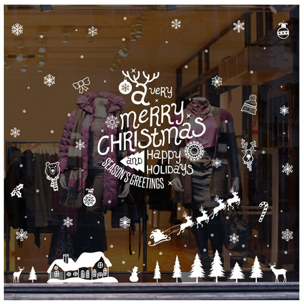 140x110cm Large Size 2019New Year Christmas Decorations for Home Snowflake Elk Christmas Tree Glass Window Sticker Navidad Natal