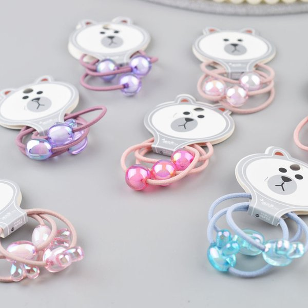 3PCS/card Beads hair ties rubber band hair gum Colorful clip accessories for girl kid hairband G20