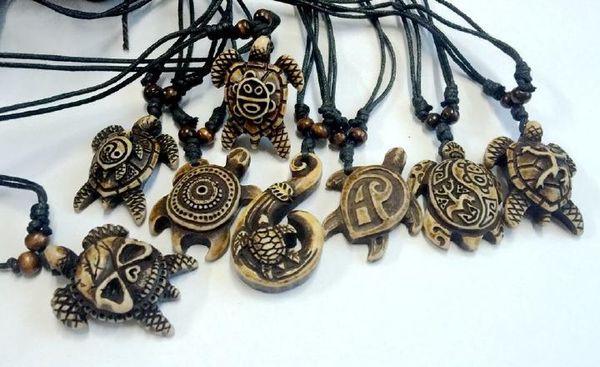 FREE SHIPPING YQTDMY 12 pcs Embossed Styles Ethnic Tribal Faux Bone Turtle Pendants Necklace Resin Adjustable