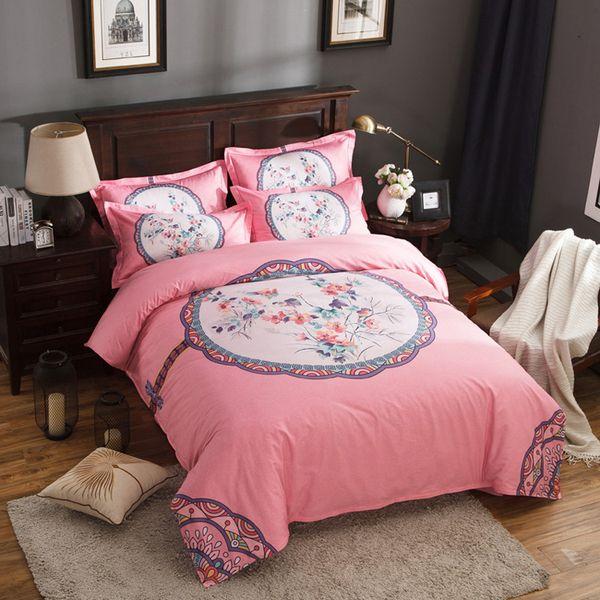 Heißer Verkauf rote Bettwäsche stellte 4pcs Königin / Königsteppdeckenabdeckungsblatt-Heimtextilien Förderung ein