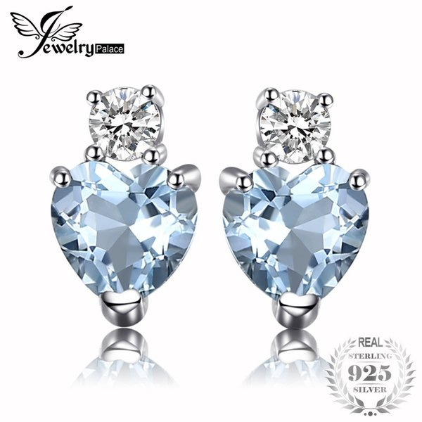 JewelryPalace Heart Love Natural Aquamarine White Topaz Post Stud Earrings For Women 925 Sterling Silver Brand Jewelry 2018 C18103001