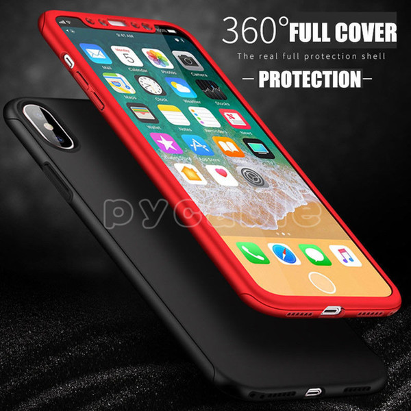 top popular 360 Degree Cases With tempered glass Hard PC Case Cover Full Body For Iphone xs max xr x 7 8 6s Samsung Note9 S8 S9 A6 A8 J4 J6 J2PRO 2018 2021