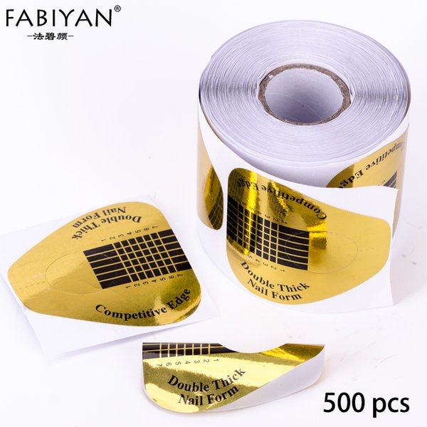 500PCS/Roll Nail Art Forms Horseshoe Sculpting Tips Sticker Guide Extension Acrylic UV Gel Tools Paper Tray Golden