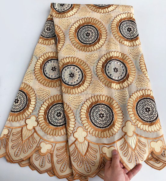 best selling 5 yards African Lace Fabric Swiss voile lace with stones high quality soft high quality