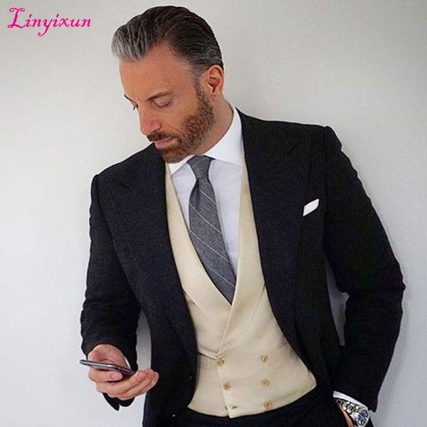 Linyixun 2017 Ultimi Disegni del Cappotto Mutanda Nero TMen Abiti da sposa Slim Fit 3 Pezzi Smoking uomo Abiti Groom Prom Blazer terno