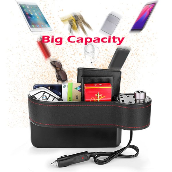 Hot Modern Car Seat Gap Storage Box Big Capacity Multi-function Dual Cigarette Lighter USB Charger With Overload Protection Multi-protector