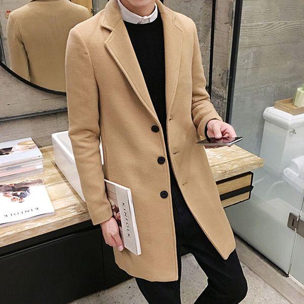 best selling Winter Wool Coat Men Leisure Long Sections Woolen Coats Men's Pure Color Casual Fashion Jackets   Overcoat & Blends