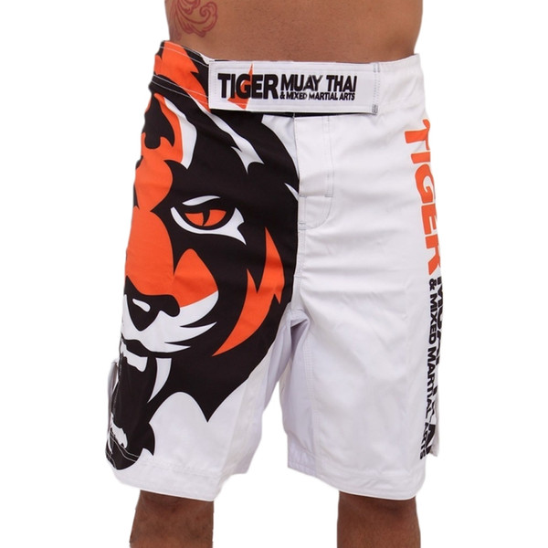 2015 hommes 's blanc Tiger Muay Thai Mma Shorts Combat Sports Pantalon De Boxe Muay Thai Boxe Shorts Coup De Pied Shorts De Boxe Pantalon