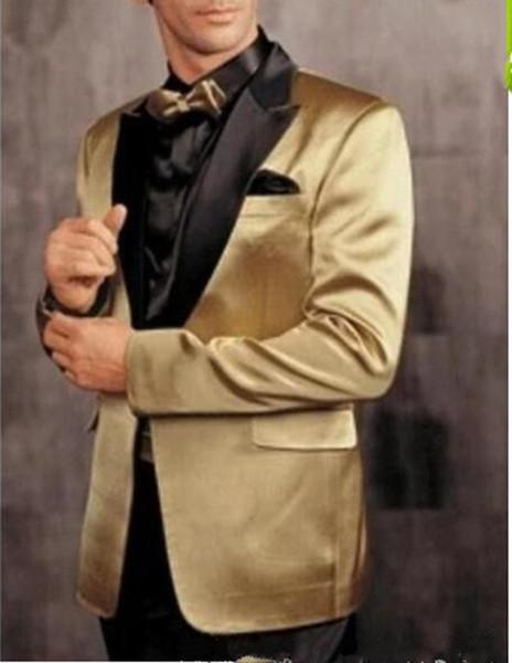 2018 Dernières One Button Gold Jacket Pantalon Noir Groom Tuxedos Peak Revers Groomsman Hommes Prom Blazer Costumes Marié (Veste + Pantalon + Cravate)