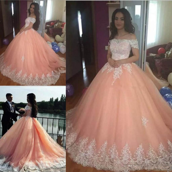 aaf94aa0838 2018 Newest Cap Sleeve Quinceanera Dresses Satin Appliques Lace Up Back Ball  Gown Prom Dresses Sweet