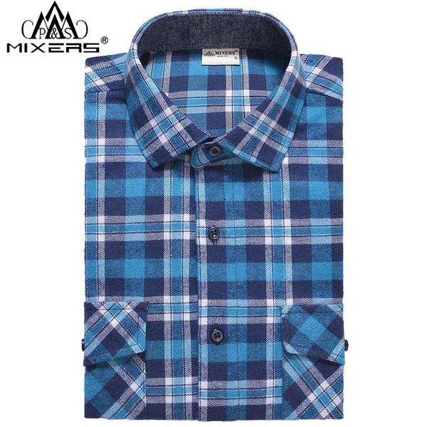 2018 autumn winter fashion men's flannel shirts slim fit two chest pockets men's plaid casual flannel shirt men long sleeve