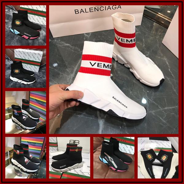 2018 Haute Qualité Célèbre Marque Hommes Casual Chaussures Noir Rouge Blanc Haut-haut En Cuir Véritable Hommes Appartements Medusa De Luxe Sneakers Taille 35-45
