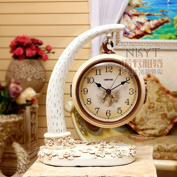 16 Inches Double Side Mute Table Clocks European Retro Clock Fashion Creative Living Room Desk Clocks Home Decor