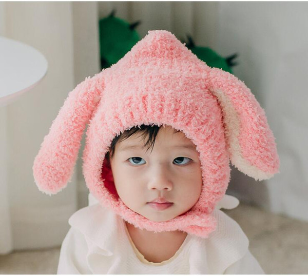 plush long ears rabbit hat Cartoon animal bunny beanie boys girls winter ski cap winter warm hood korean style infant headgear