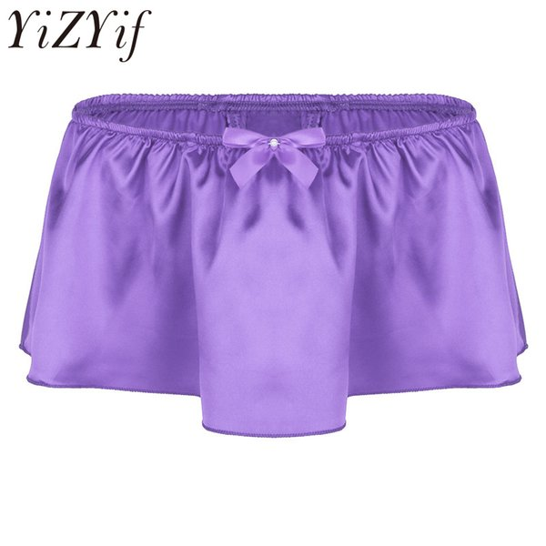 2018 Mens Lingerie Soft Shiny Satin Ruffled Bloomer Tiered Skirted Panties Sissy Boxer Shorts Underwear Sexy Gay Male Clubwear
