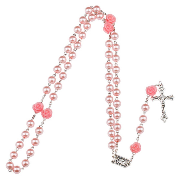 4 Colors Pink Rose Rosary Madonna Jesus Cross Necklace Pendants Pearl designer necklace Fashion Jewelry Will and Sandy DROP SHIP 162671P