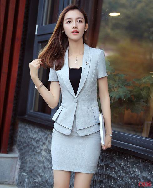 Fashion Women Business Suits with Skirt and Jacket Sets Ladies Work Wear Grey Blazer Summer Office Uniform Designs