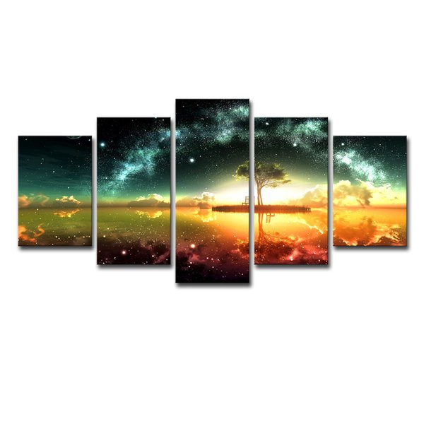 Home Decor Pictures Vintage Modular Painting Frame Print Poster 5 Panels Beautiful Scenery And Tree Canvas Wall Art Photo