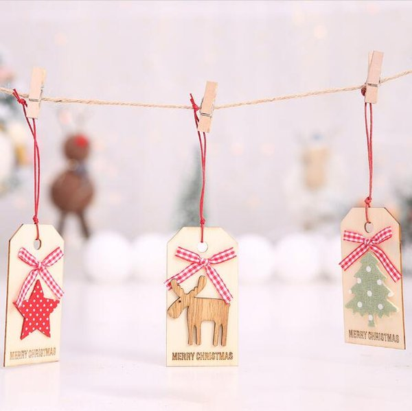 Christmas tree wooden pendants ornaments DIY elk Christmas tree stars Xmas tree ornaments crafts gifts Christmas home party supplies