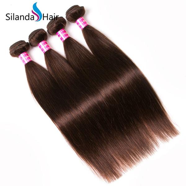 Silanda Hair High Quality #2 Dark Brown Brazilian Remy Human Hair Weaving Straight Hair Bundles 3 pcs per pack Free Shipping