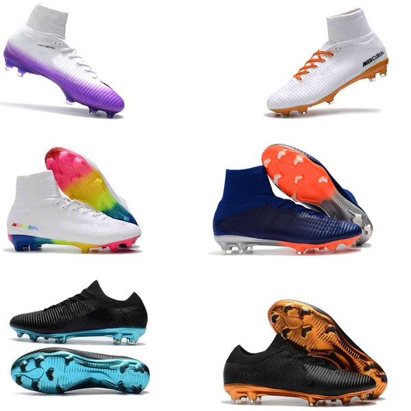 High A11 FIRE Soccer Shoes Mercurial CR7 Superfly V FG Boys Football Boots Magista Obra 2 Women Youth Soccer Cleats Cristiano Ronaldo FIRE