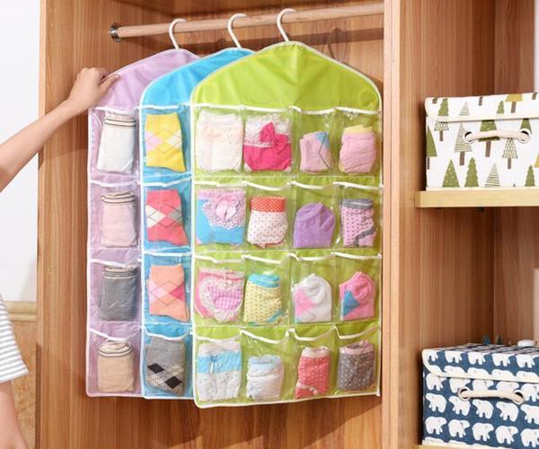 16 Pockets Multifunction Underwear Underpant Socks Sorting Storage Bag Pouch - Wardrobe Door Wall Hanging Closet Organizer Bag