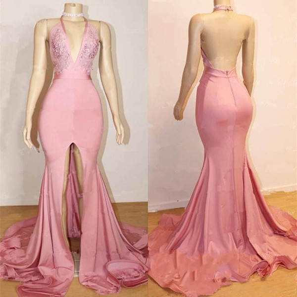 2019 Pink Halter Deep V-Neck Mermaid Prom Dresses Sexy Backless Sleeveless A-Line Front Split Pattern Popular Party Evening Dresses