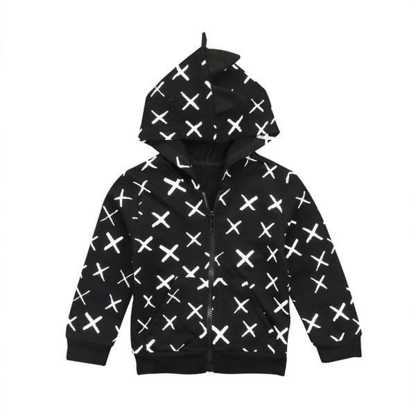 best selling Winter Kids Baby Boy Girl Clothes Dinosaur Clothes Zip Sweatshirt Hoodie Jacket Coat Outerwear