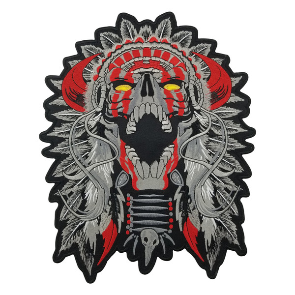 "best selling Free Shipping LARGE HORNED CHIEF DEATH SKULL INDIAN MOTORCYCLE BIKER BACK PATCH 11"" MC RIDER Vest Patch"